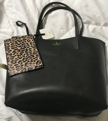NWT Kate Spade Mya Leopard / Black Leather Tote + Pouch + 25% off next order*