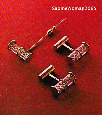 SIGNED STEUBEN Glass in RED BOX 14k GOLD AIR TWIST CUFFLINKS and STICK PIN lapel