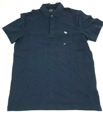 Abercrombie & Fitch, Icon Stretch Polo Button Up Size M, Navy Blue Short Sleeve