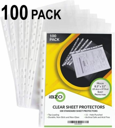 Clear Sheet Protectors - Page Protectors - Plastic Binder Sleeves (100 Count)