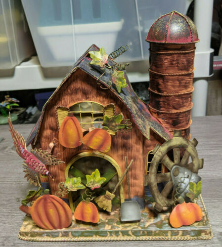 "9"" Fall Autumn Farm Candle Holder Metal Tin Halloween Barn Pumpkin Patch Village"