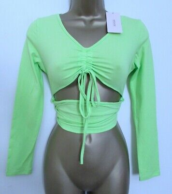 KATCH ME LADIES NEON GREEN LONG SLEEVED CROPPED TOP SIZE 8 BNWT WOMENS