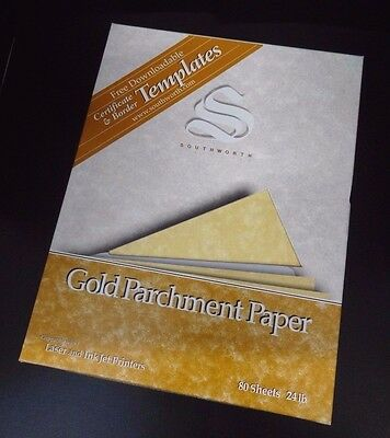 Gold Parchment Paper - Southworth 80 Shets 24 lb. Gold Parchment Paper 11