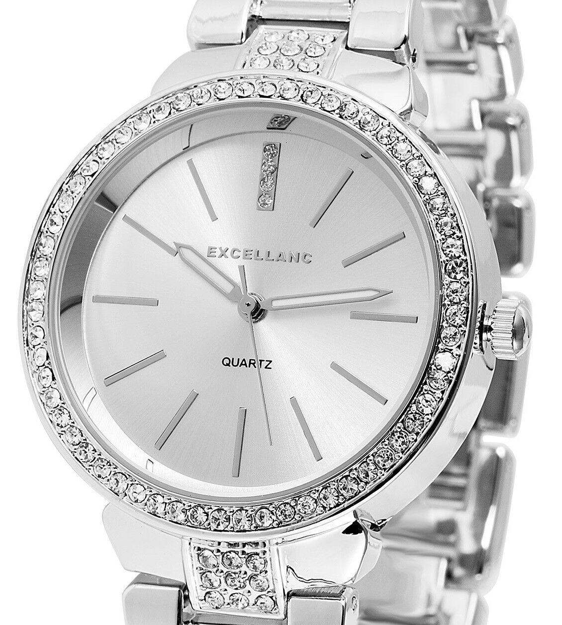 Damenuhr Armbanduhr Silber Crystalbesatz Metallarmband 180/016 von Excellanc