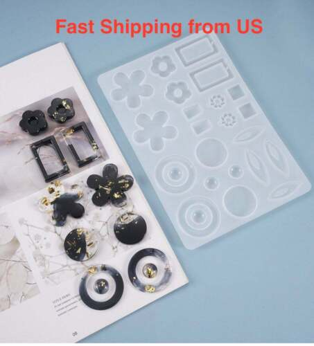 New 22-Cavity Earring Pendant Silicone Resin Mold - Ship from US