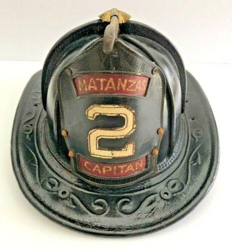 CAIRNS LEATHER FIRE HELMET 1959 MATANZAS CUBA  (SUPER RARE )