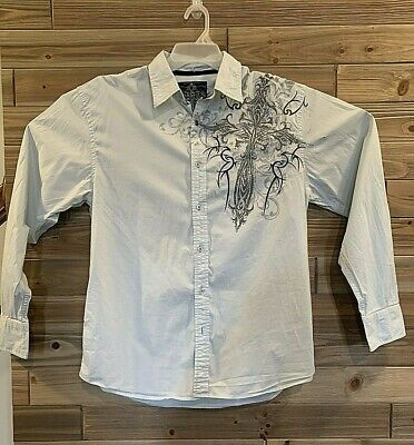 ROAR Enough Excuses Button Down Long Sleeve Men's Size Large Pattern Casual