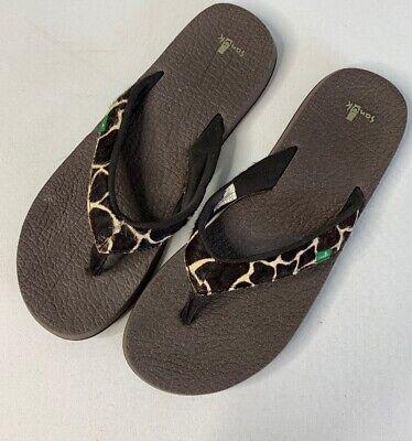 Sanuk Womens Size 10 Animal Yoga Mat Flip Flop Thong Sandals Sanuk Womens Thongs