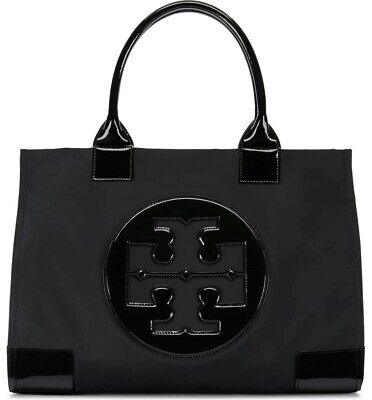 New TORY BURCH Ella Large Tote Nylon Glossy Leather Black Handbag USPS Priority