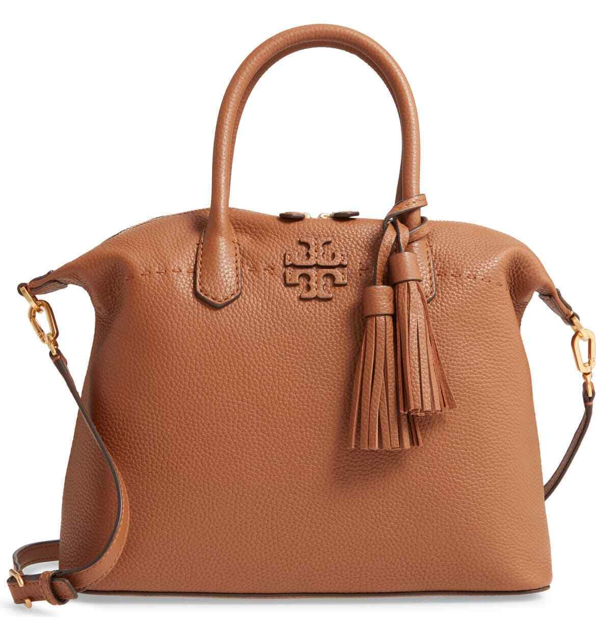 NWT TORY BURCH MCGRAW PEBBLED LEATHER SLOUCHY SATCHEL MOOSE