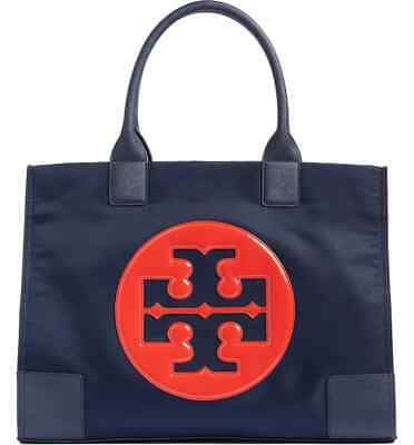 NEW Authentic Tory Burch Ella Nylon Logo Tote Bag Navy Patent Cherry Apple Large
