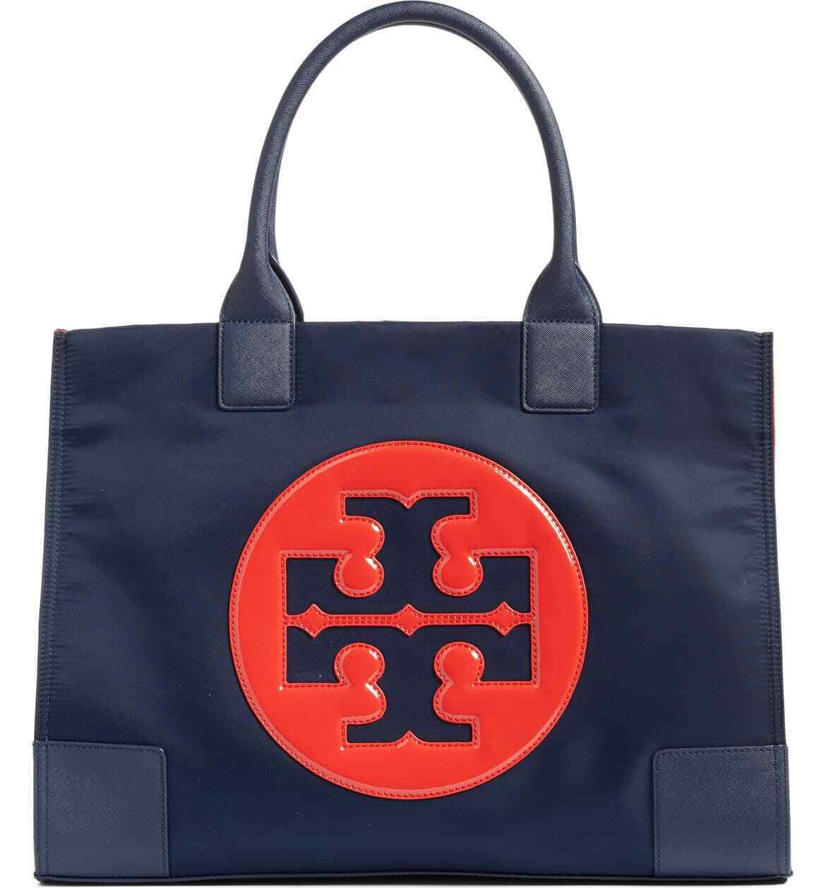 NEW Authentic Tory Burch Ella Nylon Logo Tote Bag Navy Paten