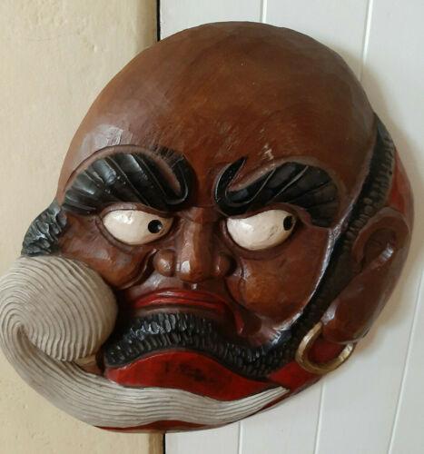 """Large carved wood Zen Master Bodhidharma Buddhist Monk mask 24""""x19"""""""