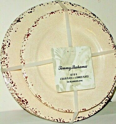 Collection 8 Piece Dinner Plates - Tommy Bahama 8 Piece Dinner & Salad Plate Set of 8 Rustic Ivory Crackle Melamine