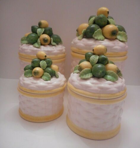 Vintage 1970s Set of 4 Lemon Lime Ceramic Canisters by Robert Nemith