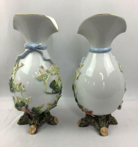 Vintage Pair of Vista Aegre Vases Portugal  Porcelain Vases V.A. Portugal