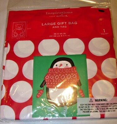New HALLMARK Christmas PRESENT LARGE RED TOY PLASTIC GIFT WRAP BAG & TAG 36X44](Plastic Gift Wrap)