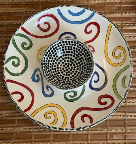 """M. Bagwell HAPPY TOGETHER Chip & Dip Ceramic Divided  Colorful Swirl Dots 12"""""""