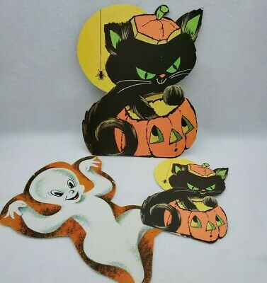 3 Vintage Eureka Halloween Decoration Die Cut Lot Black Cat Ghost Spider Jack O