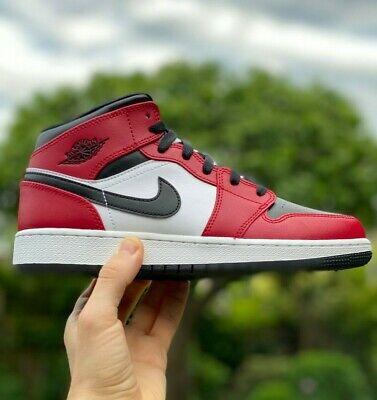 Nike Jordan 1 Mid Chicago Black Toe Red White GS UK3 3.5 4 4.5 5 5.5 6 ALL SIZES