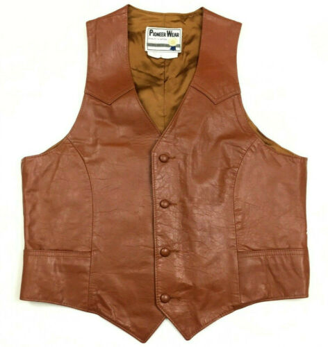 Vintage Pioneer Wear Mens Leather Vest Western Cowboy Button Made USA Size 42
