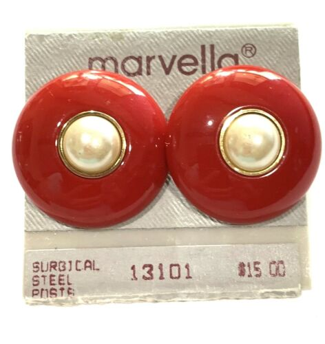 "Vintage MARVELLA Earrings Post Red Plastic Cream Faux-pearl 1.25"" Orig Card NOS"
