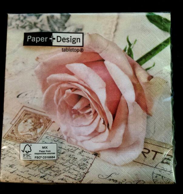 Servietten Paper+Design  ROMANTIC   rosa Rose Hochzeit   20 Stk  33x33 cm   Neu