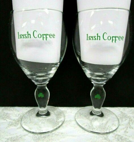 Vintage Irish Coffee Stemmed Crystal Glasses Goblets set of 2 Shamrock 8 ounce