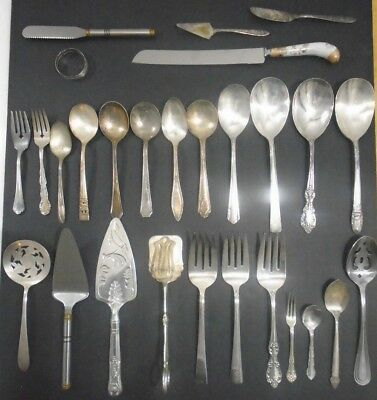 Set of 2 Antique Rare Silver Plate Wooden Handle 2 Pc Salad ServersServing Set 10 34
