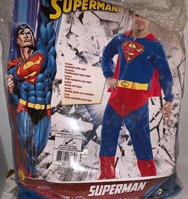 MEN'S MEDIUM RUBIE'S SUPERMAN HALLOWEEN COSTUME JUMPSUIT CAPE Fits Up To 44
