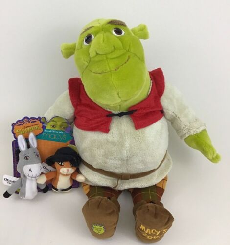 """Shrek the Third Macys Large 20"""" Plush Stuffed Toy with Finger Puppets Dreamworks"""