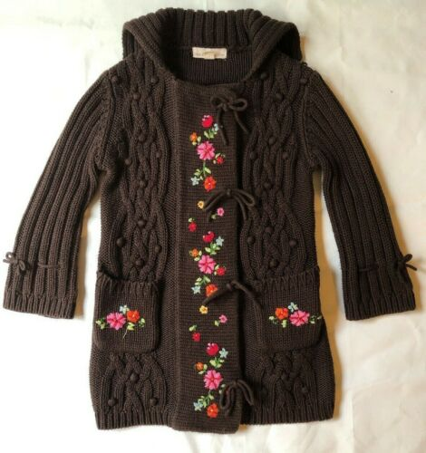 Vintage The Eagles Eye 4 Small Girls Brown Knit Sweater Dress Embroidery Snaps