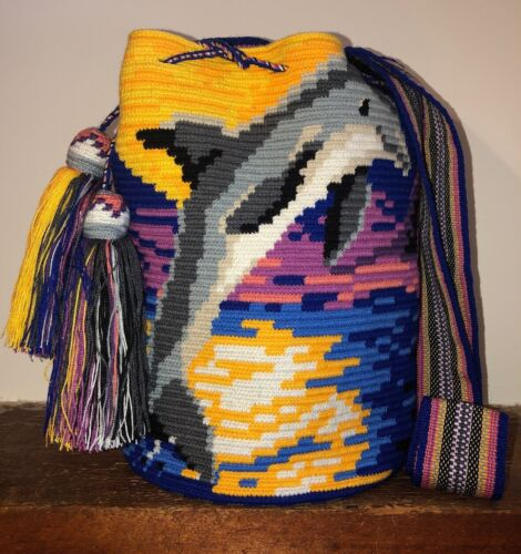 Authentic 100 Wayuu Mochila Colombian Bag Large Size Exclusive Dolphin Pattern
