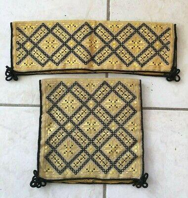 Antique Vintage Textile Hardanger Norwegian needlework Glove Handkerchief Case