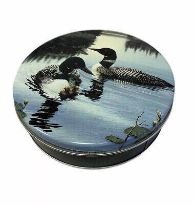 "6"" Round Vtg 1984 Loon Bird Tin With Bonus Wood Figures Art Marketing Minnesota"