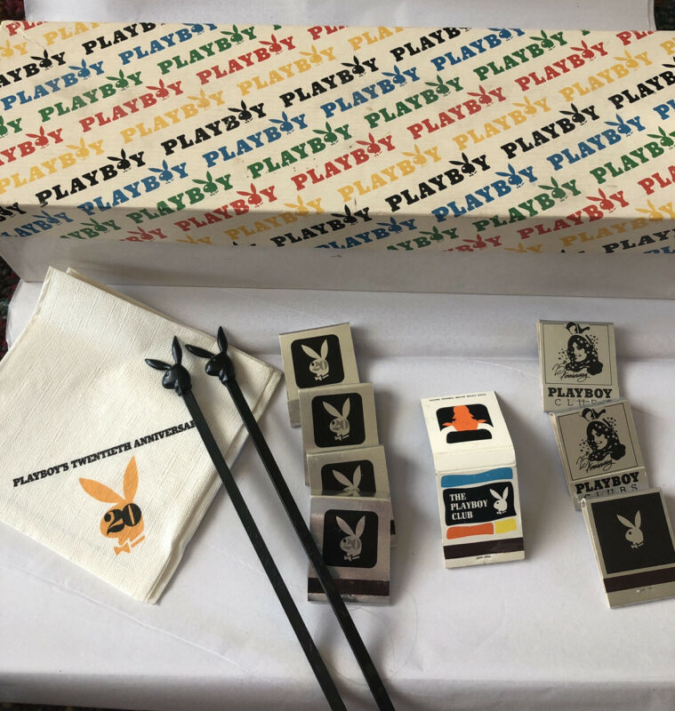 Vintage Playboy Club Anniversary Matches,napkins, Swizzles And Cool Box!