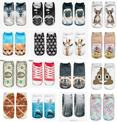 Printed Hosiery - 1 Pair Cotton Blend Printed Men Women Unisex Hosiery Cute Ankle Socks Spring