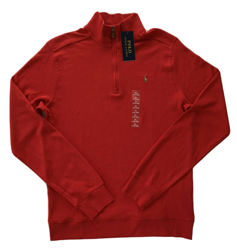 Polo Ralph Lauren Youth Boys 1/4 Zip Cotton Interlock Pullover Red XL