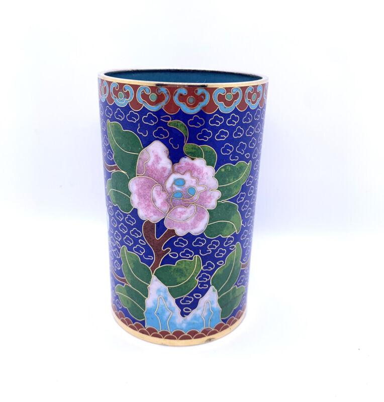 Vintage Cloisonne Floral Cup Vase Pen Holder Blue Pink Brown