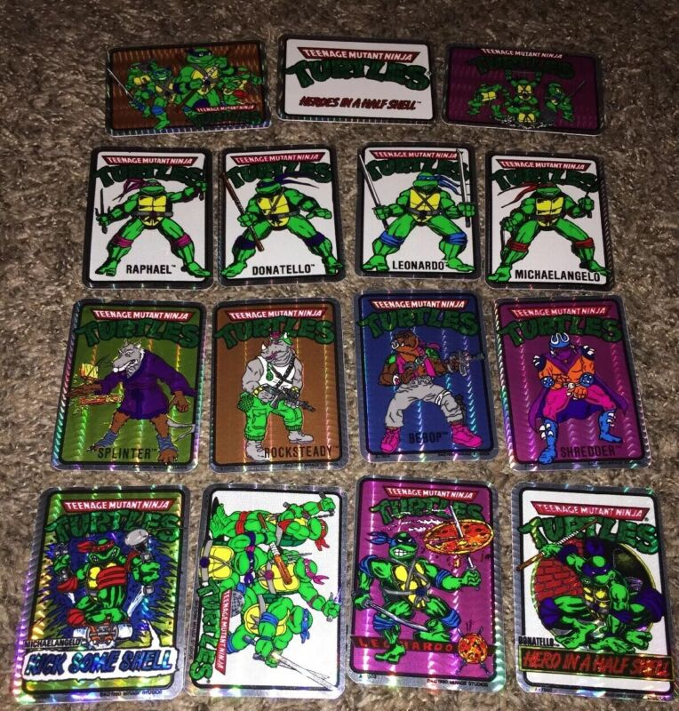 Vtg 1990 Original Rare TMNT Prism Vending Machine Sticker Set 15x Ninja Turtles