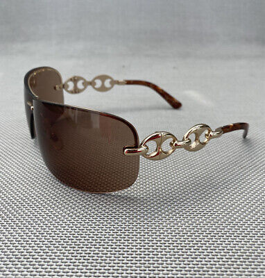 Gucci Y2k Shield Gold Brown Sunglasses Vintage Chain Link