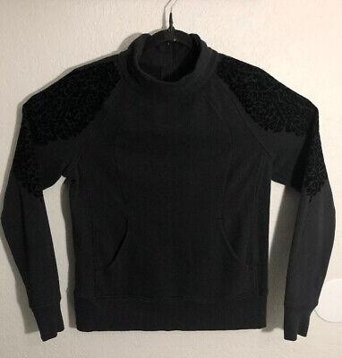 Lululemon Floral Flock Pullover Mock Neck Back Zip Sweatshirt Top Size 12 Black Back Zip Sweatshirt