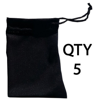- QTY 5 Small Gift Bag Soft Black Microfiber Pouch Sleeve Mini Case Lightweight