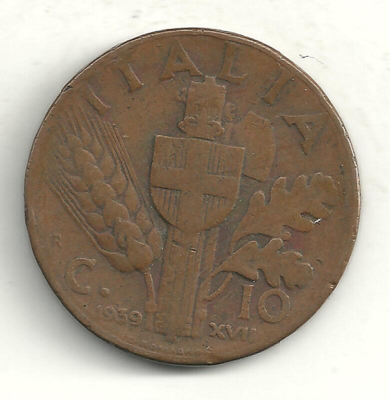 A VINTAGE VERY NICE 1939 R 10 CENTESIMI ITALY COPPER COIN-M829