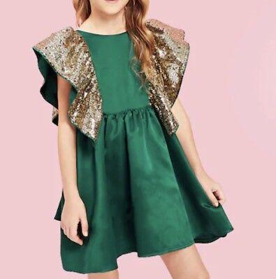 Kinder Mädchen Pailletten Kleid Grün Gold Gr 152/158, gebraucht gebraucht kaufen  Versand nach Austria