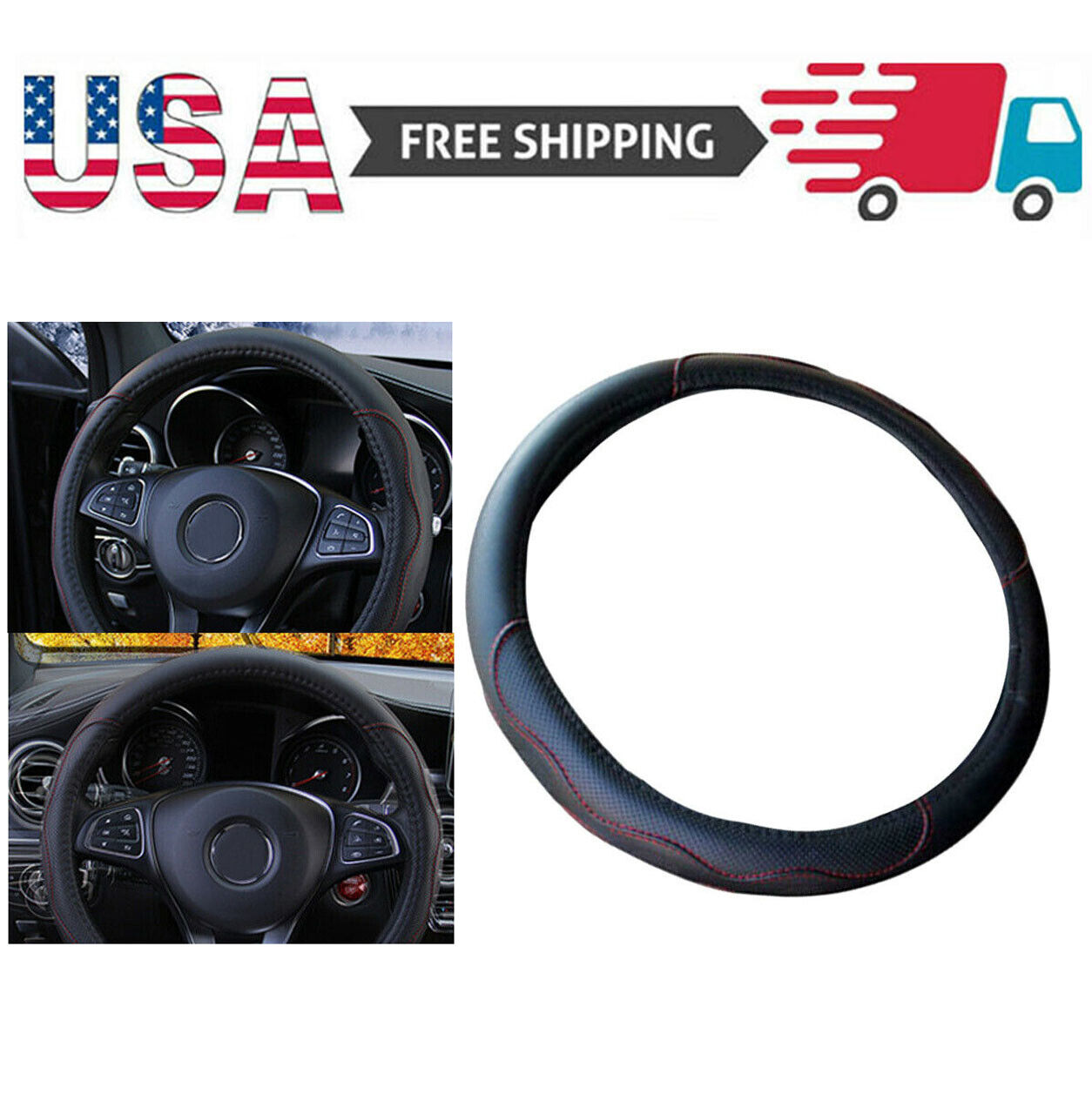 15″/37-38CM PU Leather Car Steering Wheel Cover Good Grip Car Accessories USA Car & Truck Parts