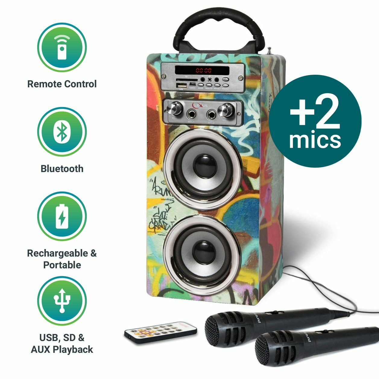 Kids Portable Karaoke Machine Bluetooth MP3 Speaker FM Mic x 2 Pure Acoustics