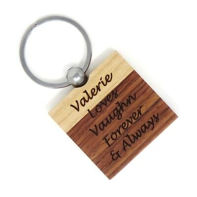 Custom Engraved Maple Rosewood Wood Key Chain Square  PERSONALIZED Key Ring