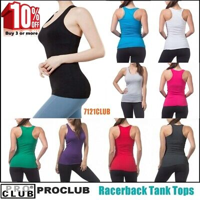 WOMENS Racerback Tank Tops Sleeveless PROCLUB Workout Gym Yoga Solid Undershirt Sleeveless Womens Top
