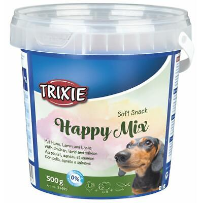Trixie Soft Snack Happy Mix Dog/Puppy Training Treats - Chicken Lamb Salmon 500g